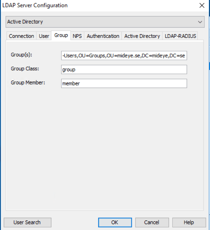 Add a group containing users allowed to authenticate with Mideye Server.