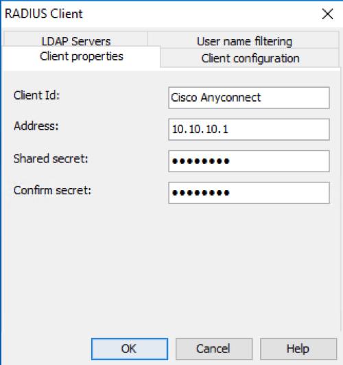RADIUS client configuration