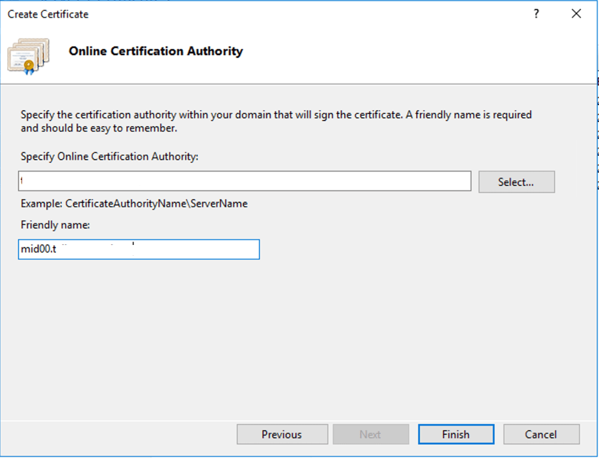 Select the Certificate Authority