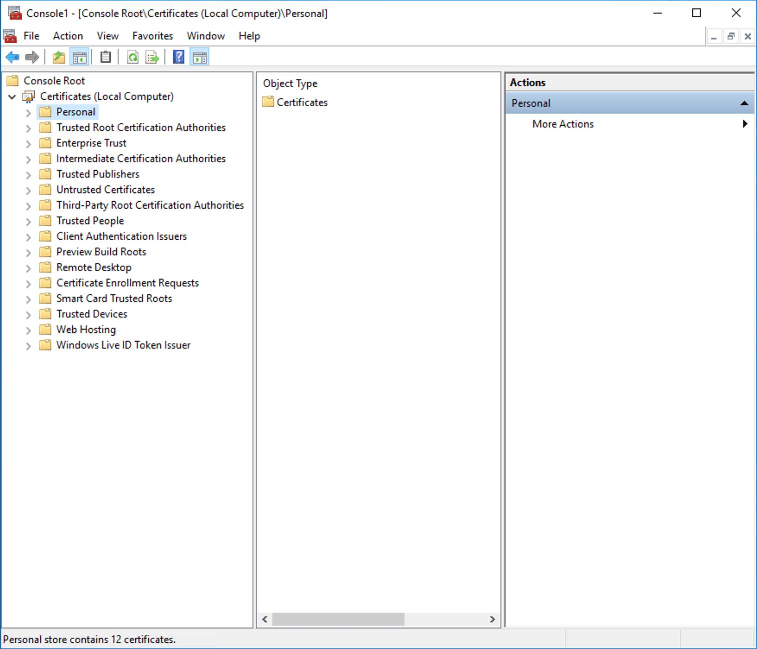 Open certificate snap-in
