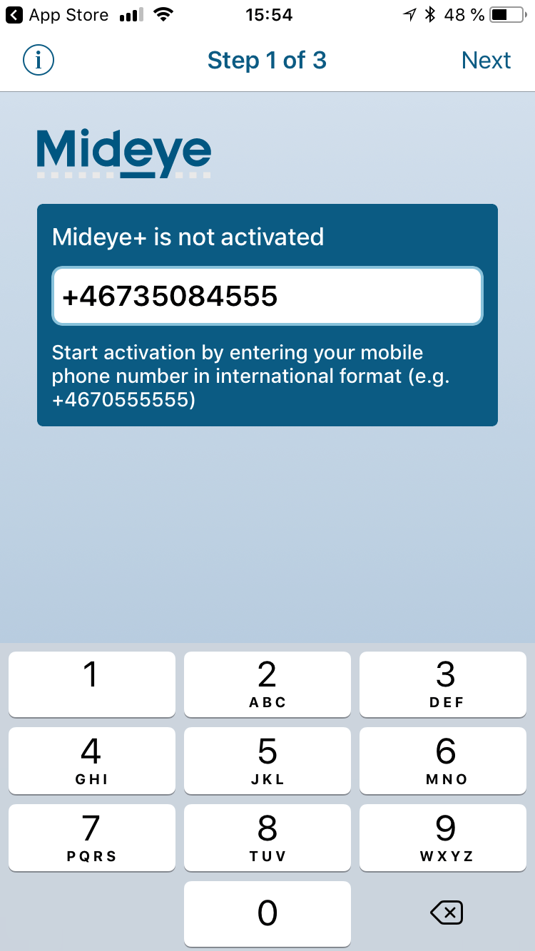 Enter phone number in international format.