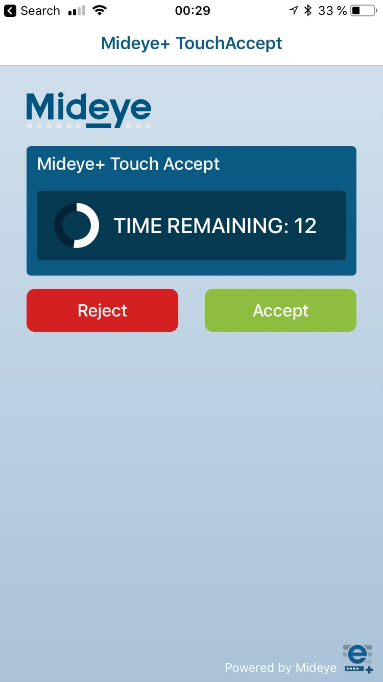 Login using Touch Accept
