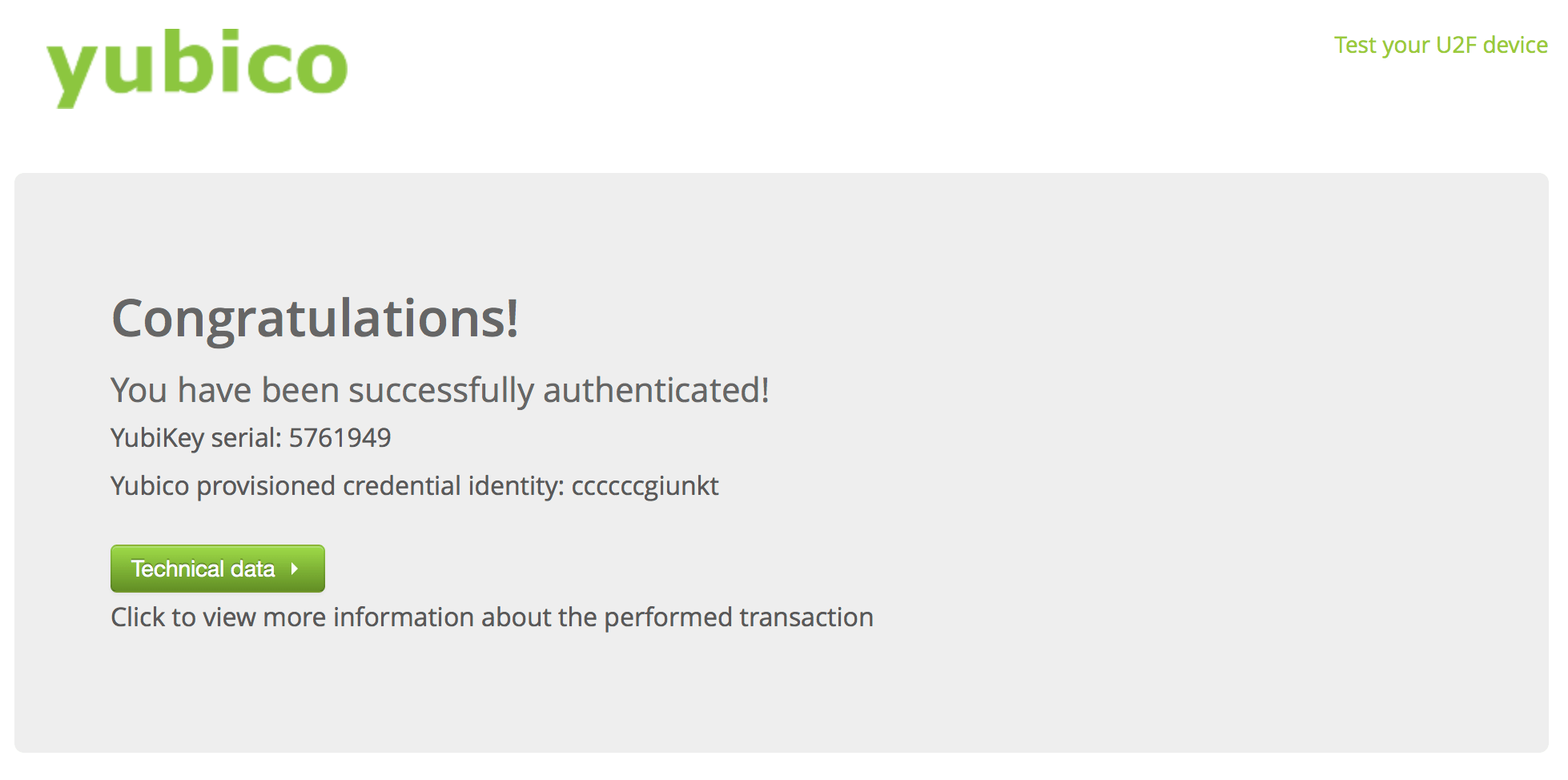 Yubico authentication test page.