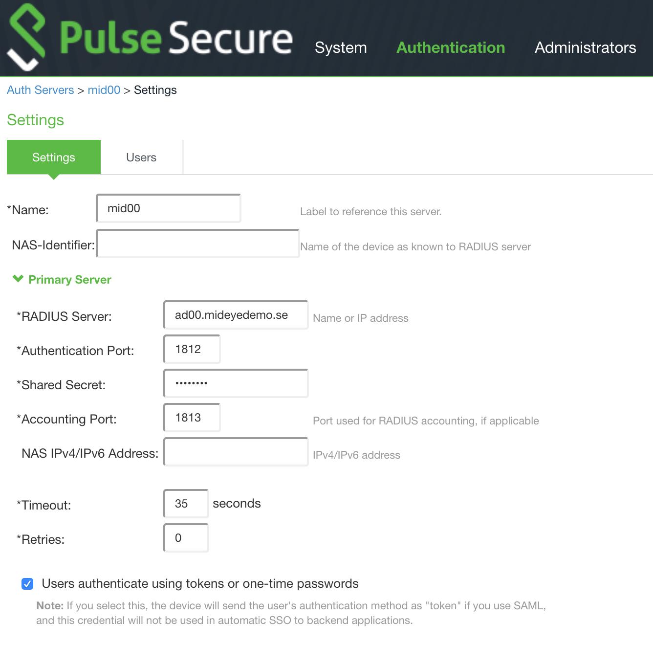 Configuration of RADIUS server