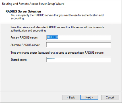Enter the IP-address to the RADIUS-server followed by a shared secret.