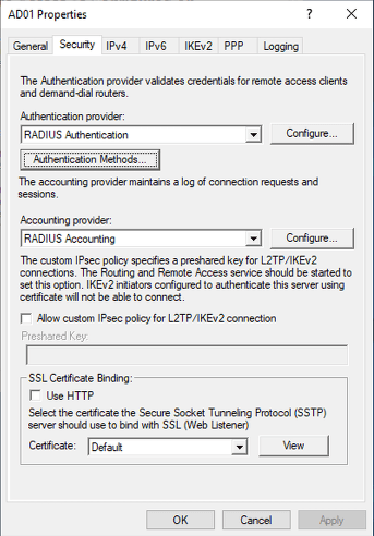 Select Configure next the RADIUS authentication