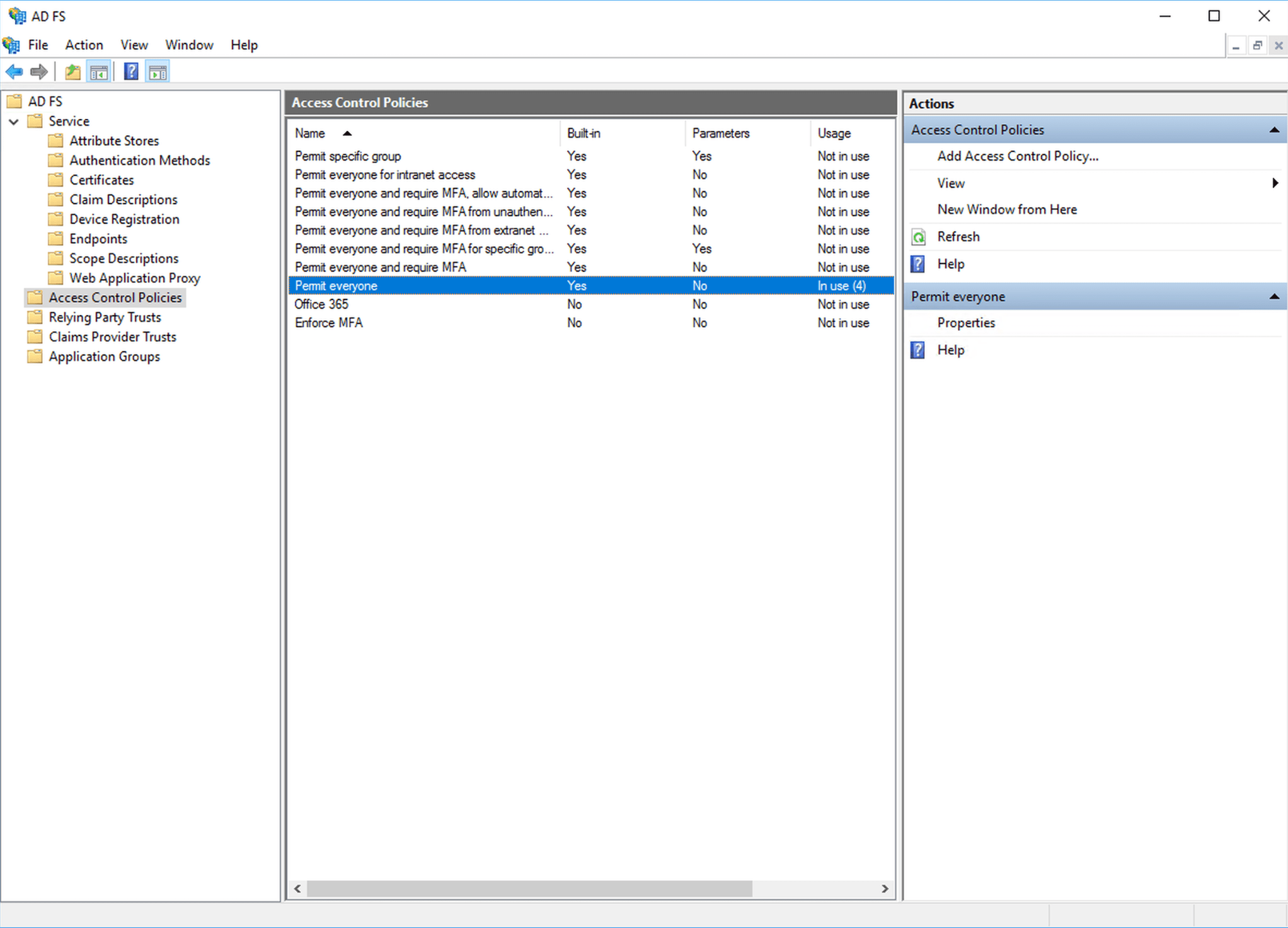 Open ADFS management console and navigate to access control policies. Remove all relaying parties from any MFA policies.
