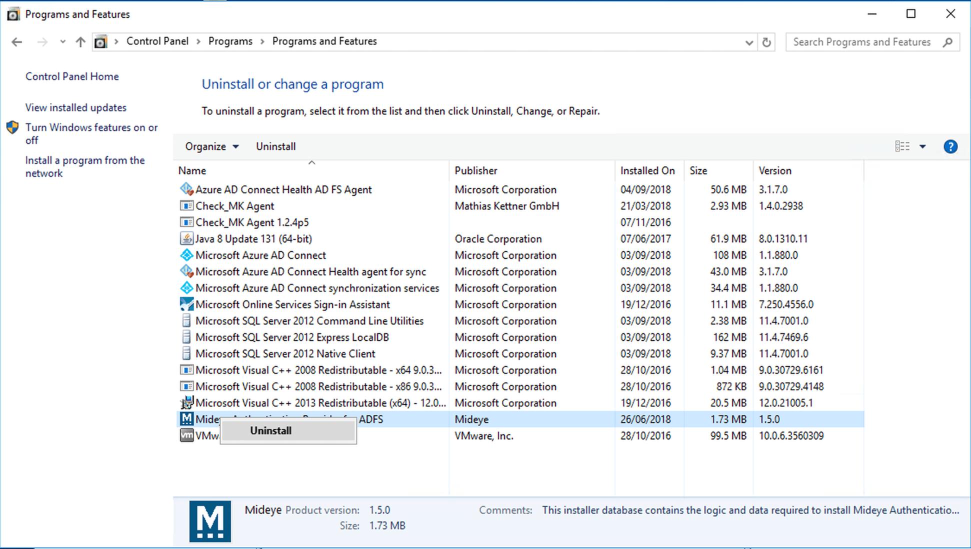 Open Control Panel and navigate Remove/Add programs. Uninstall the Mideye ADFS module