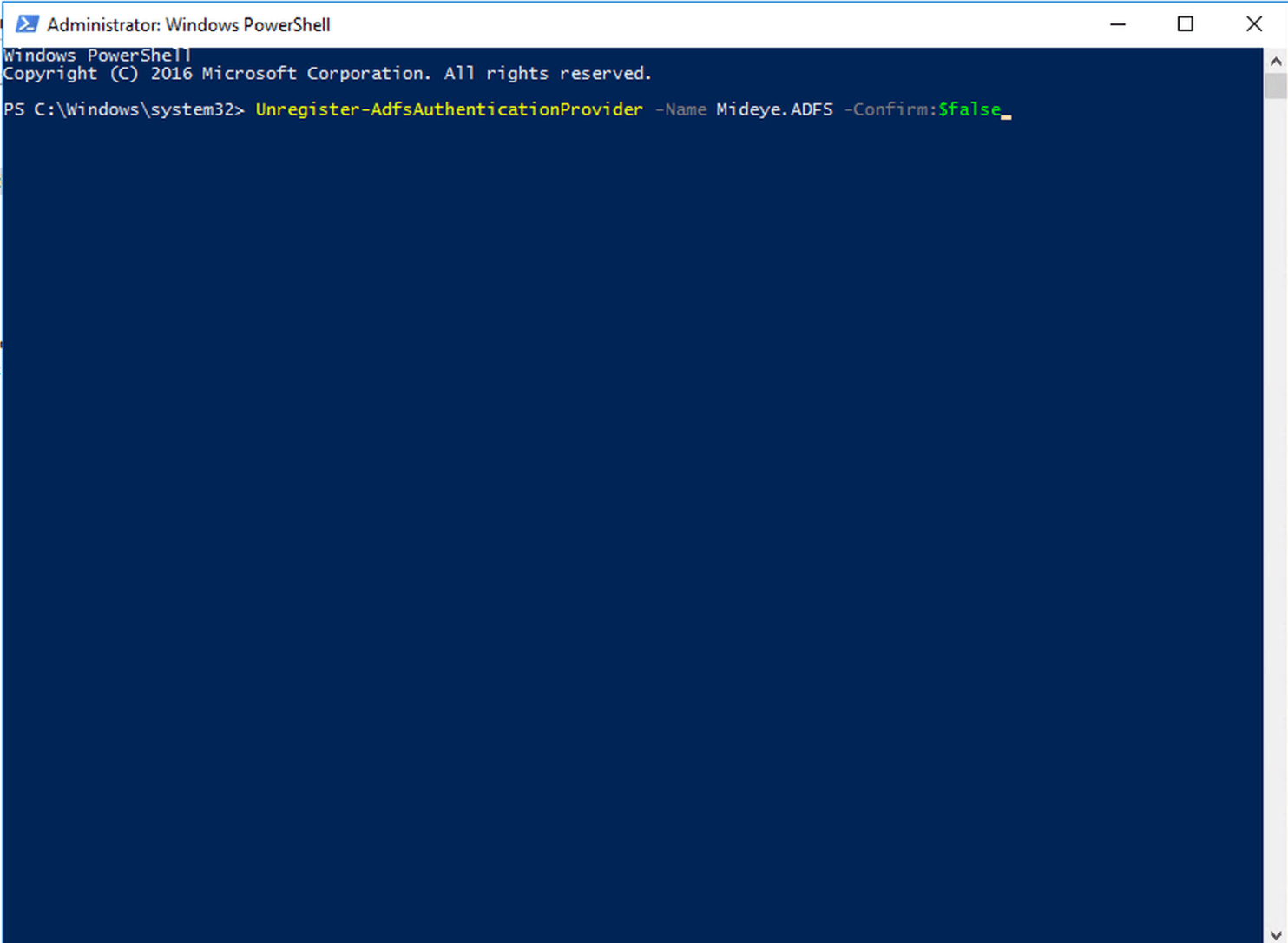 To make sure that all register keys are removed from any older versions, open Powershell as an administrator and typeUnregister-AdfsAuthenticationProvider -Name Mideye.ADFS -Confirm:$false